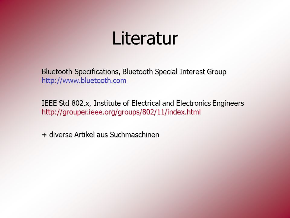 Literatur Bluetooth Specifications, Bluetooth Special Interest Group