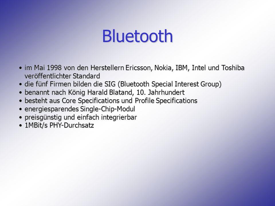 Bluetooth im Mai 1998 von den Herstellern Ericsson, Nokia, IBM, Intel und Toshiba veröffentlichter Standard.