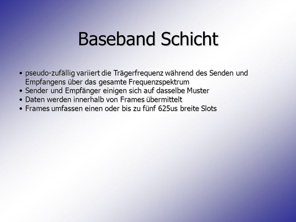Baseband Schicht pseudo-zufällig variiert die Trägerfrequenz während des Senden und Empfangens über das gesamte Frequenzspektrum.