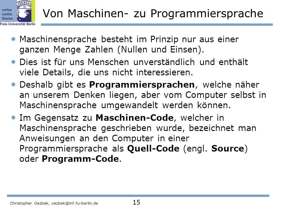 Von Maschinen- zu Programmiersprache