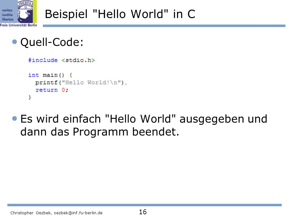 Beispiel Hello World in C