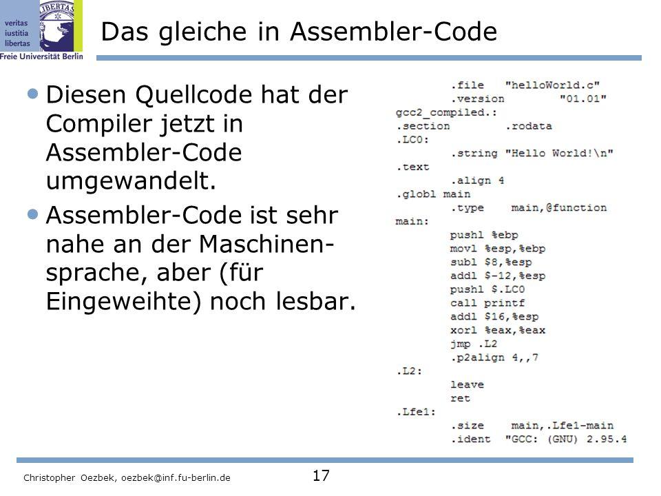Das gleiche in Assembler-Code