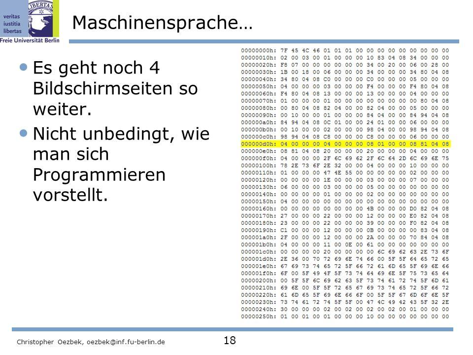 Maschinensprache… Es geht noch 4 Bildschirmseiten so weiter.