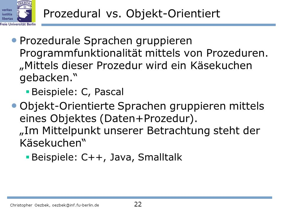 Prozedural vs. Objekt-Orientiert