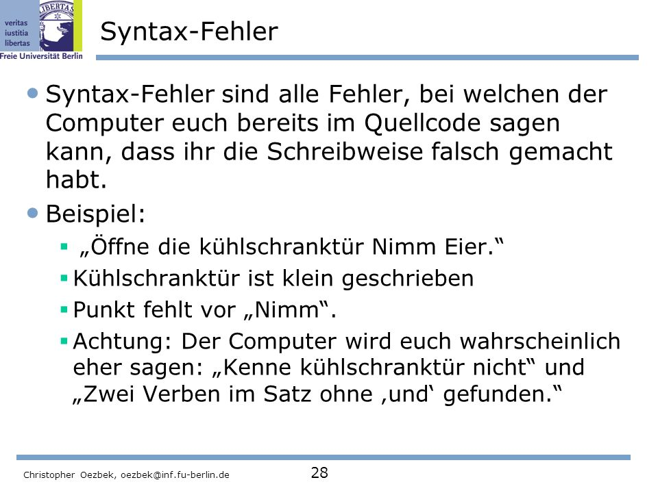 Syntax-Fehler