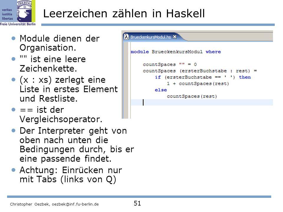 Leerzeichen zählen in Haskell