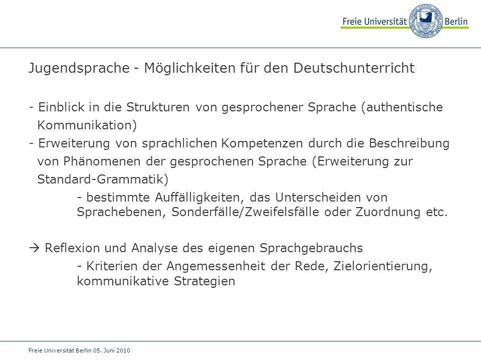 Jugendsprache - Möglichkeiten für den Deutschunterricht
