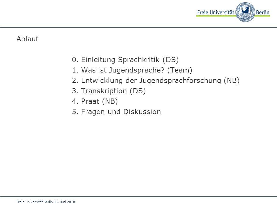 0. Einleitung Sprachkritik (DS) 1. Was ist Jugendsprache (Team)