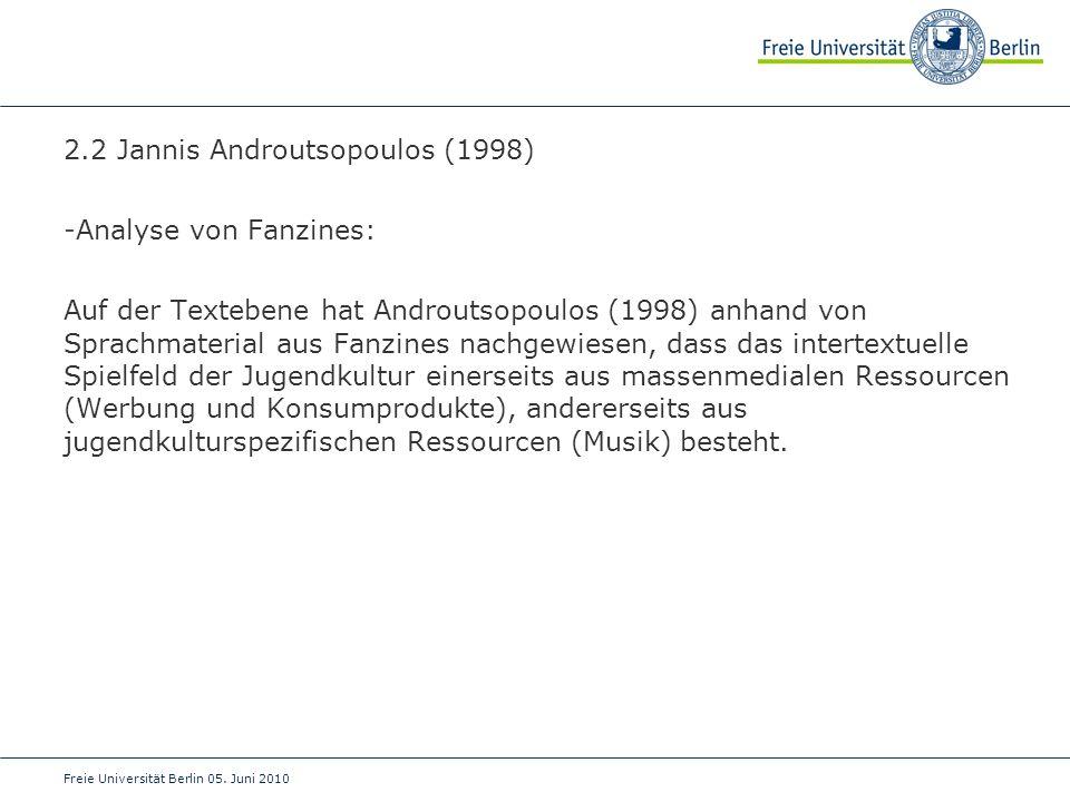 2.2 Jannis Androutsopoulos (1998) Analyse von Fanzines:
