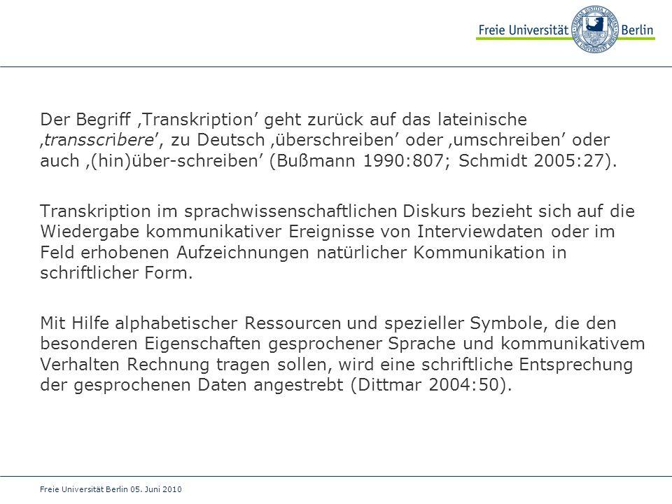 Der Begriff 'Transkription' geht zurück auf das lateinische 'transscribere', zu Deutsch 'überschreiben' oder 'umschreiben' oder auch '(hin)über- schreiben' (Bußmann 1990:807; Schmidt 2005:27).