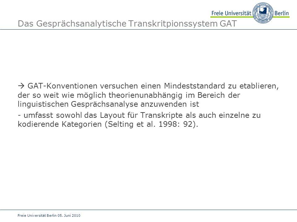 Das Gesprächsanalytische Transkritpionssystem GAT