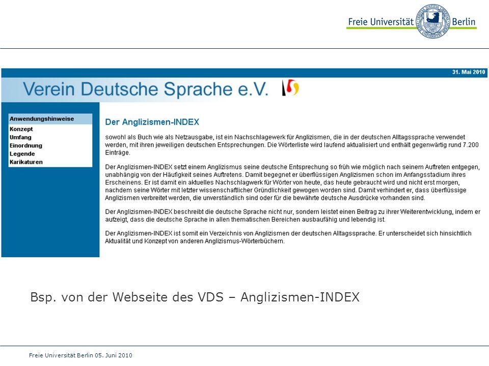 Bsp. von der Webseite des VDS – Anglizismen-INDEX