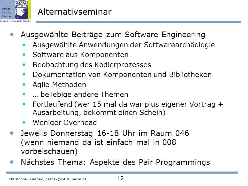 Alternativseminar Ausgewählte Beiträge zum Software Engineering
