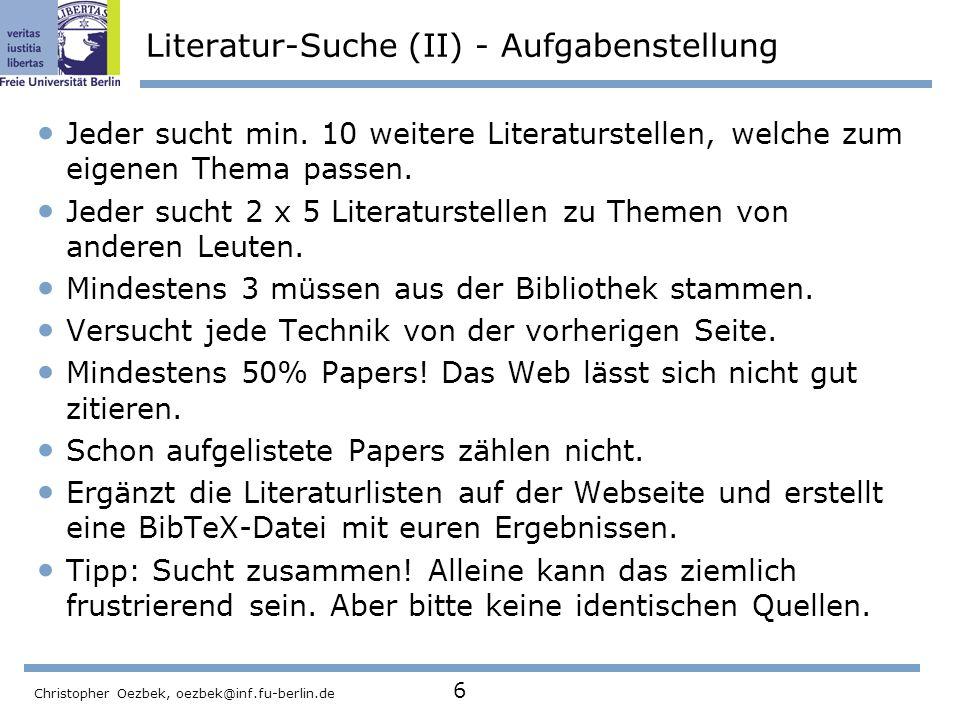 Literatur-Suche (II) - Aufgabenstellung