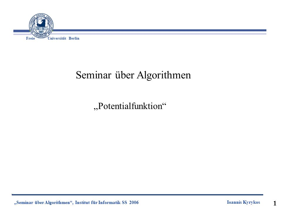 Seminar über Algorithmen
