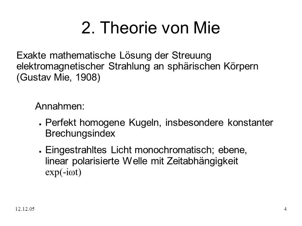 2. Theorie von Mie Exakte mathematische Lösung der Streuung elektromagnetischer Strahlung an sphärischen Körpern (Gustav Mie, 1908)