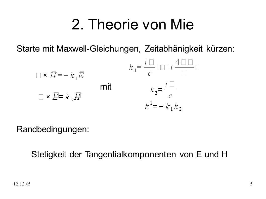2. Theorie von Mie Starte mit Maxwell-Gleichungen, Zeitabhänigkeit kürzen: mit. Randbedingungen: Stetigkeit der Tangentialkomponenten von E und H.