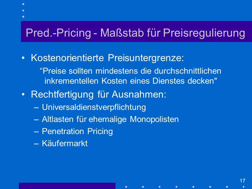 Pred.-Pricing - Maßstab für Preisregulierung