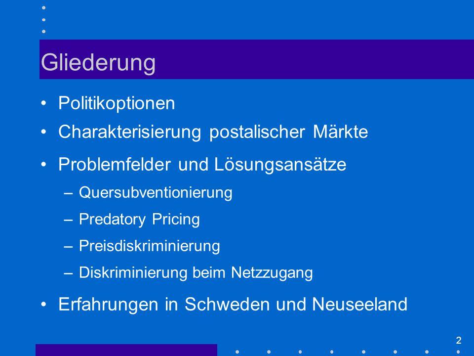 Gliederung Politikoptionen Charakterisierung postalischer Märkte