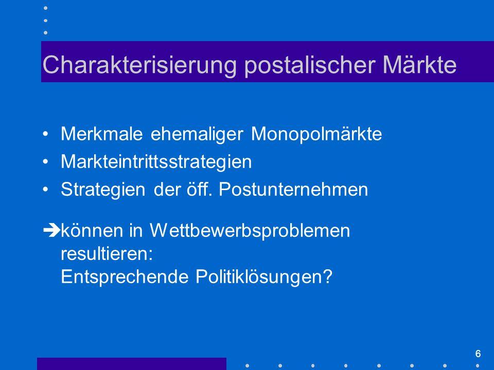 Charakterisierung postalischer Märkte
