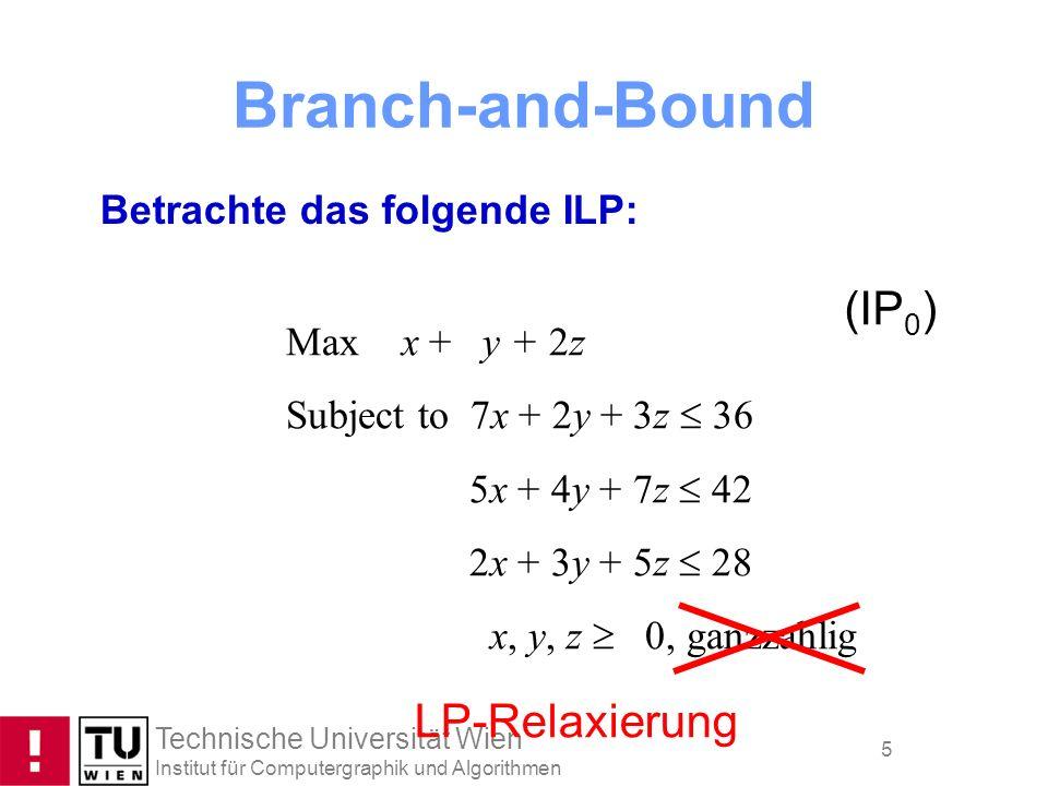 Branch-and-Bound (IP0) LP-Relaxierung Betrachte das folgende ILP: