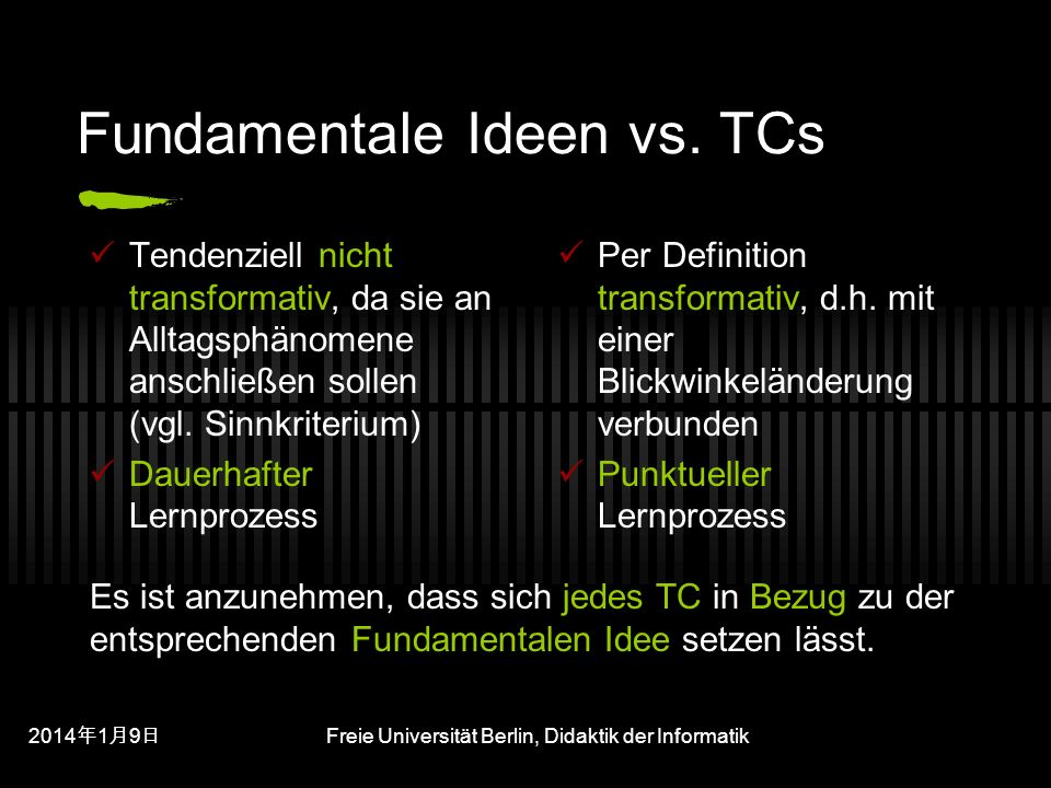 Fundamentale Ideen vs. TCs