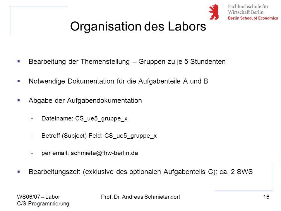 Organisation des Labors