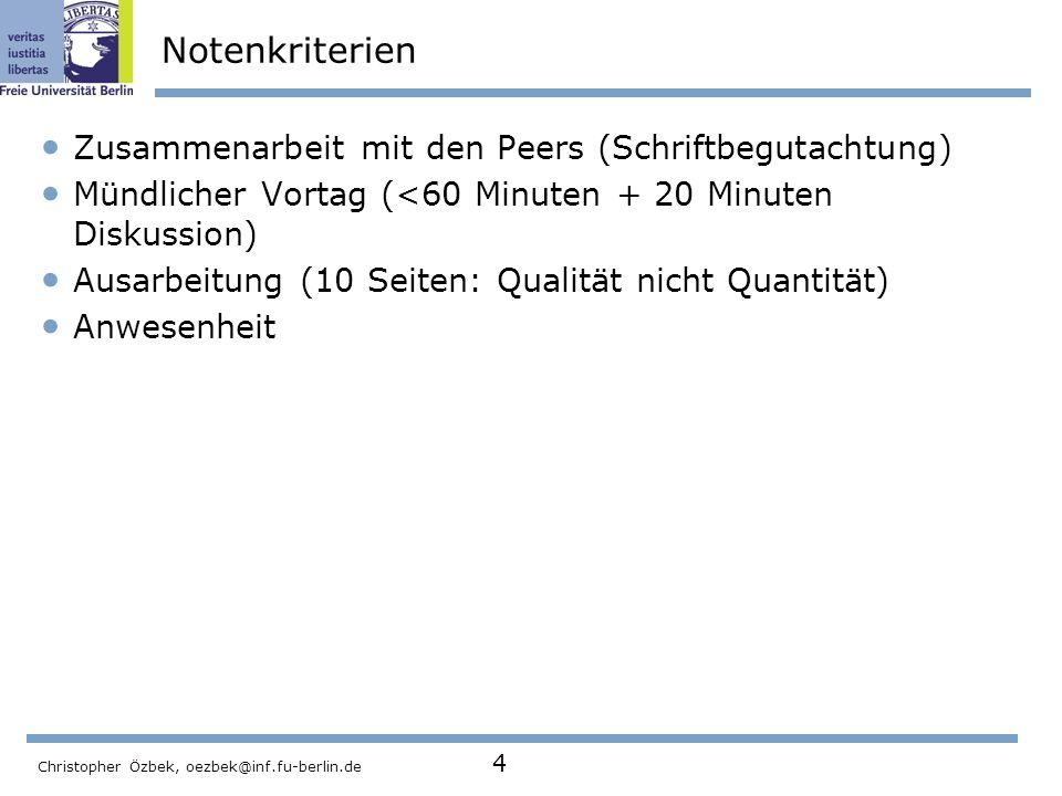 Notenkriterien Zusammenarbeit mit den Peers (Schriftbegutachtung)