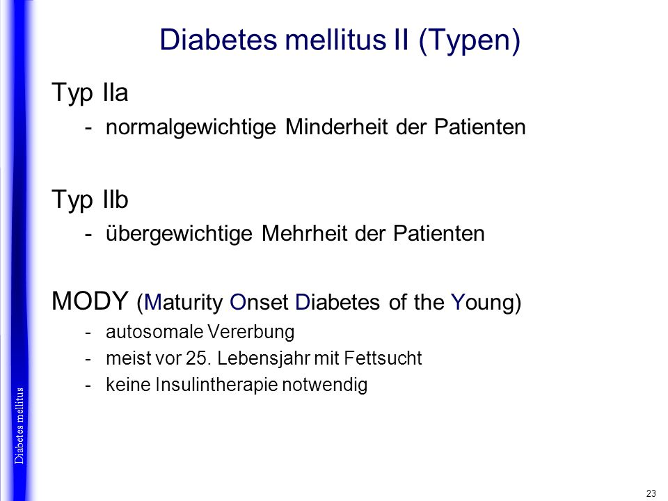 Diabetes mellitus II (Typen)
