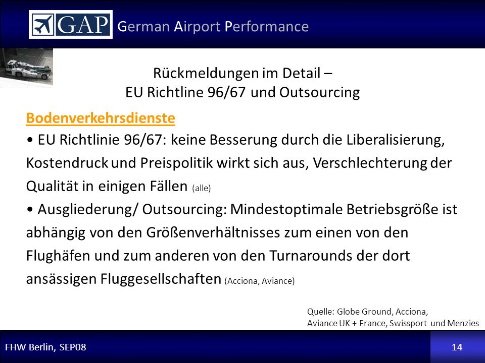 Rückmeldungen im Detail – EU Richtline 96/67 und Outsourcing