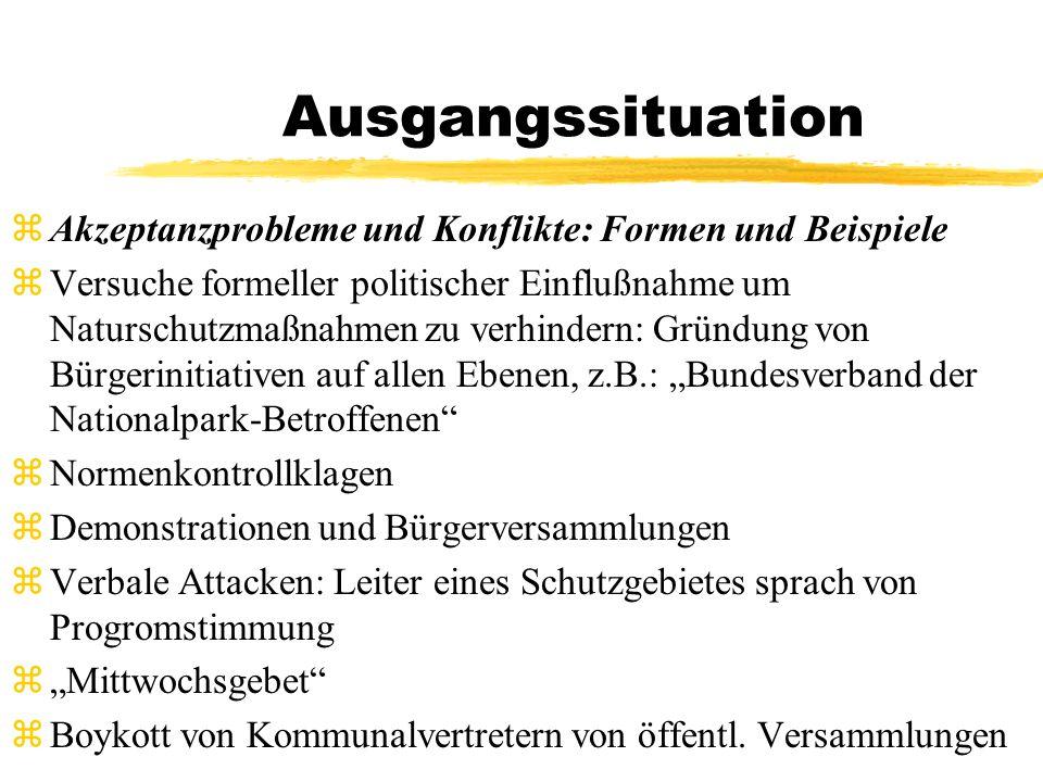 Ausgangssituation Akzeptanzprobleme und Konflikte: Formen und Beispiele.