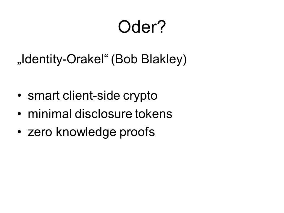 "Oder ""Identity-Orakel (Bob Blakley) smart client-side crypto"