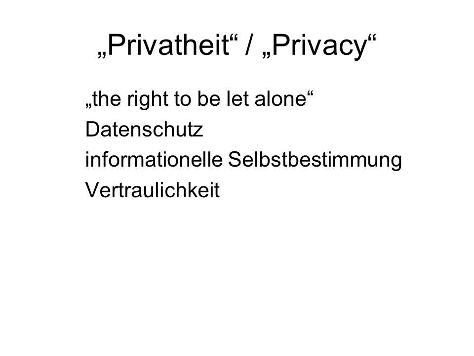 """Privatheit / ""Privacy"