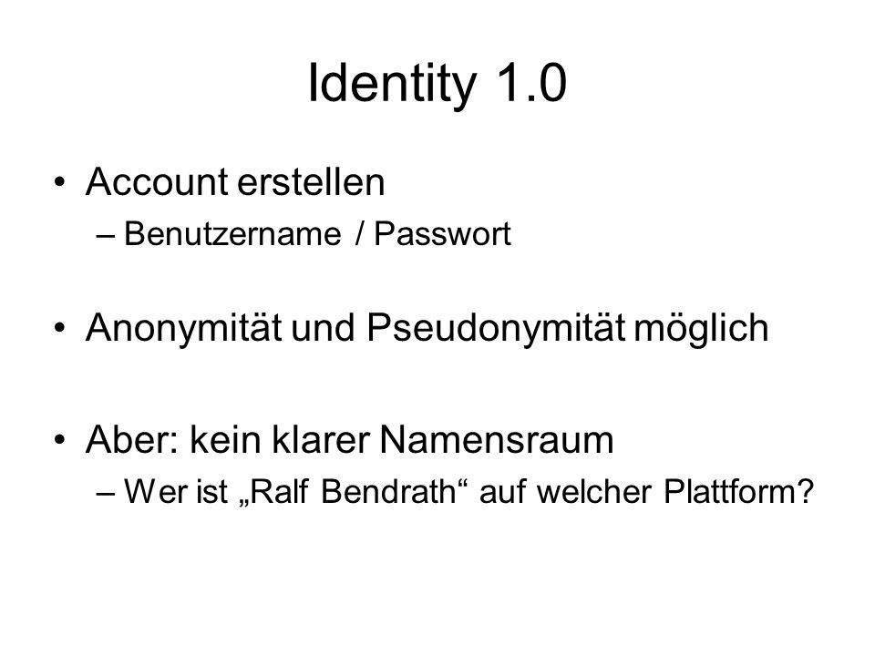 Identity 1.0 Account erstellen Anonymität und Pseudonymität möglich