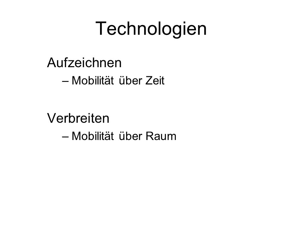 Technologien Aufzeichnen Verbreiten Mobilität über Zeit