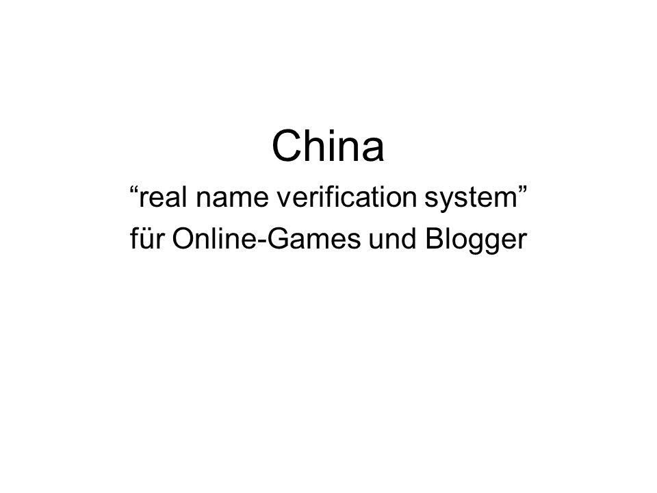 China real name verification system für Online-Games und Blogger
