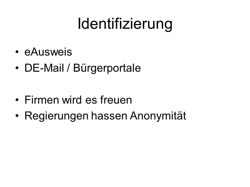 Identifizierung eAusweis DE-Mail / Bürgerportale Firmen wird es freuen