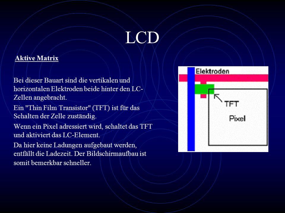 LCD Aktive Matrix. Bei dieser Bauart sind die vertikalen und horizontalen Elektroden beide hinter den LC-Zellen angebracht.