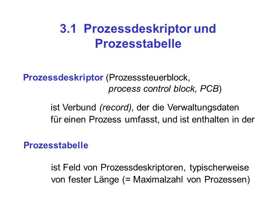 3.1 Prozessdeskriptor und Prozesstabelle