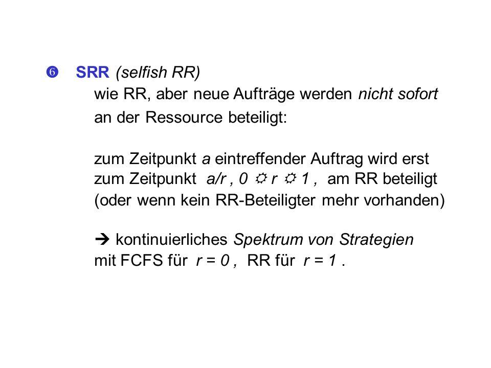  SRR (selfish RR) wie RR, aber neue Aufträge werden nicht sofort. an der Ressource beteiligt: zum Zeitpunkt a eintreffender Auftrag wird erst.