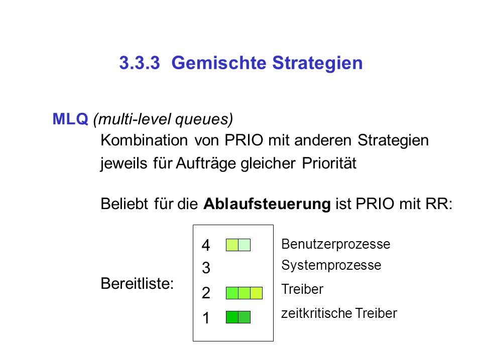 3.3.3 Gemischte Strategien MLQ (multi-level queues)