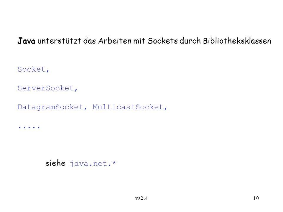 Java unterstützt das Arbeiten mit Sockets durch Bibliotheksklassen