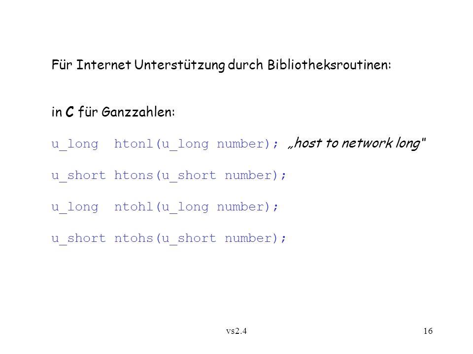 Für Internet Unterstützung durch Bibliotheksroutinen:
