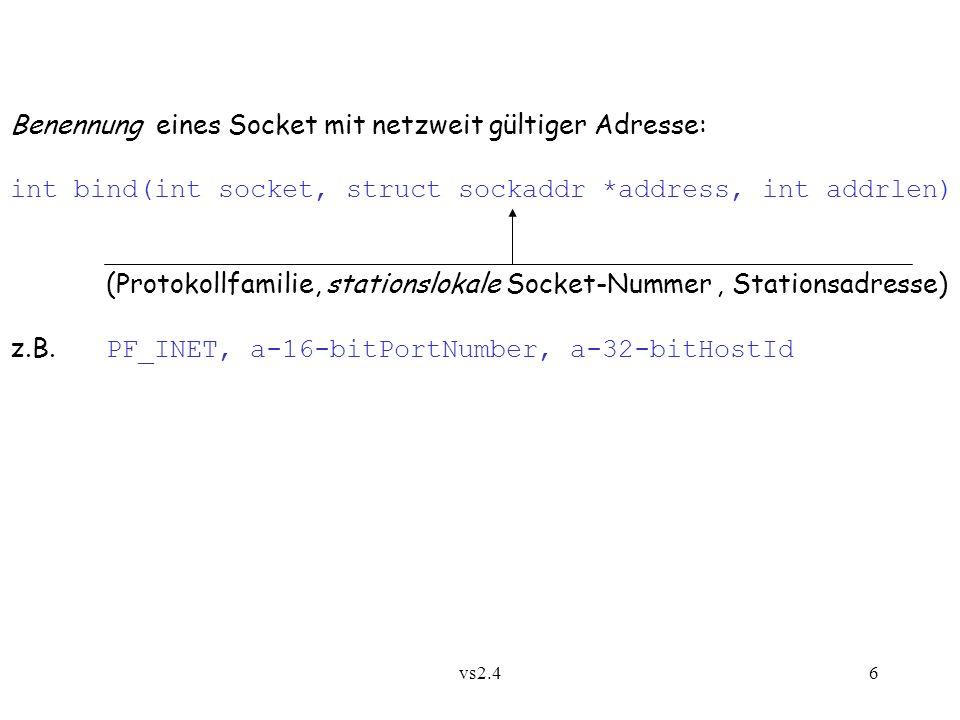 Benennung eines Socket mit netzweit gültiger Adresse: