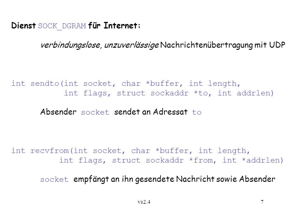 Dienst SOCK_DGRAM für Internet: