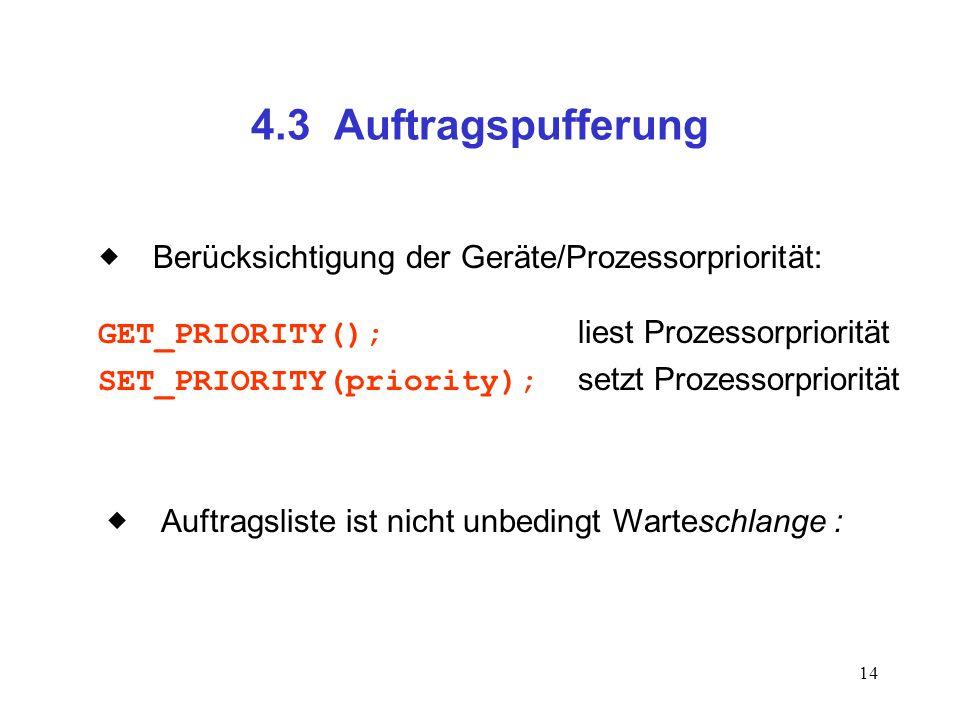 4.3 Auftragspufferung  Berücksichtigung der Geräte/Prozessorpriorität: GET_PRIORITY(); liest Prozessorpriorität.