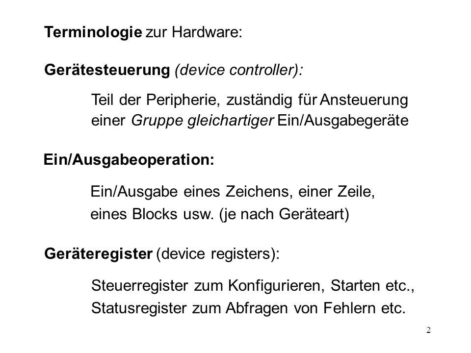 Terminologie zur Hardware: