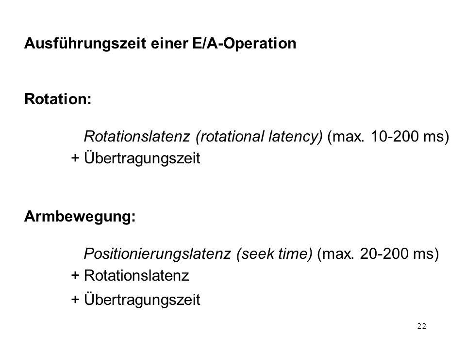 Ausführungszeit einer E/A-Operation