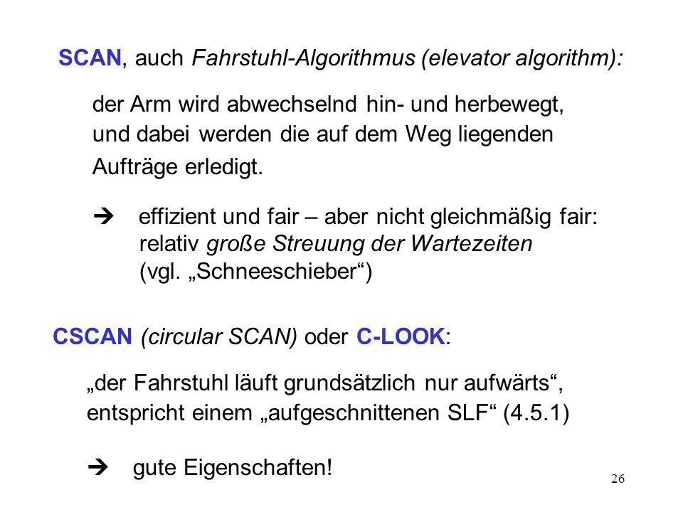 SCAN, auch Fahrstuhl-Algorithmus (elevator algorithm):