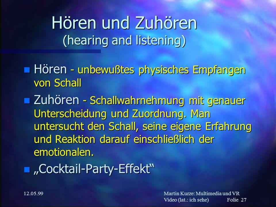 Hören und Zuhören (hearing and listening)